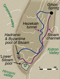 Hezekiah's Tunnel Map